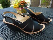 CAMPER Damen Schuhe Sandaletten Keilsandale Plateau Keilabsatz 40 Leder schwarz