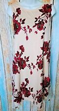 NWT Beige by Eci Extra Large ALine Shift Dress Embroidered Roses Cream Tie Back