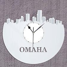 Omaha Clock Personalized Skyline Unique Vinyl Record Modern Wall Art Sign Decor