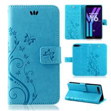 Huawei Y6 2018 Handy Tasche Handyhülle Wallet Schutz Hülle Blumen Flip Cover Neu