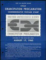 UNITED STATES MINT SOUVENIR PAGE 1963 EMANCIP PROLAMATION   FOLDED PUNCH HOLES