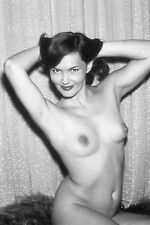 Vtg B&W 1950s Photo Girl Pinup Naughty Perky Side Boob Busty Tits Risque #1353