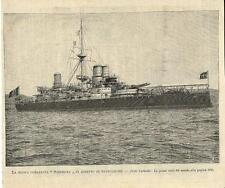 Stampa antica NAVE CORAZZATA SARDEGNA marina militare 1894 Old antique print