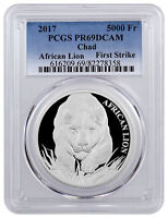 2017 Republic of Chad African Lion 1 oz Silver 5000F PCGS PR69 DCAM FS SKU43319
