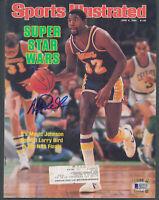 Lakers Magic Johnson Signed June 1984 Sports Illustrated Magazine BAS Witnessed