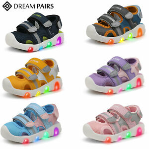 DREAM PAIRS Baby Girls Boys Toddles Athletic Sandals Light Up Sports Sandals