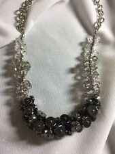 NEW! Simply VERA WANG Sparkling Silver Ombré Beaded Cluster Necklace