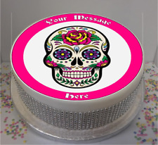 """Novelty Personalised Sugar Skull (A) 7.5"""" Edible Icing Cake Topper birthday"""