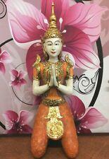 XXL Tempelwächter Thai Buddha kniend gold orange Figur Feng Shui Statue ca 85 cm