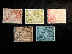 LAOS Stamp Set Scott 27-29, C20-C21 Mint Hinged CV72