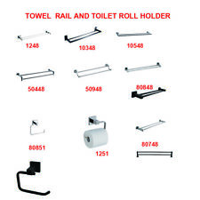 Chrome and Matt Black Double Towel Rail and Toilet Roll Holder