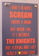 Naughty Newcastle Knights Retro Footy Sign - Jersey Cards Rugby League Etc