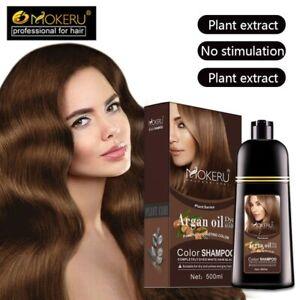Mokeru 1pcs Natural Dye Argan Oil Essence Fast Hair Color Shampoo For Women