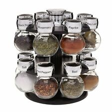 Spinning Spice Rack with 16 Labeled Glass Jars Kitchen Holder Storage Organizer