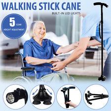 Walking Stick Cane Folding With Light LED Strap Handle Black Metal Adjustable AU