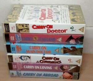 x6 classic Carry on VHS tapes. Carry on abroad, Loving, Doctor etc. Pal region.