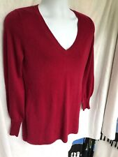 Pure Cashmere Tahari cashmere sweater Long Style V Neck Red  XS / P
