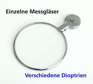 Einzelne Messgläser Messglas einzeln Metallrand schmal 38 mm Sphäre + und - NEU