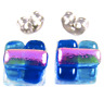 """Tiny DICHROIC Glass Post EARRINGS 1/4"""" 10mm Clear Turquoise Blue Teal Pink STUDS"""