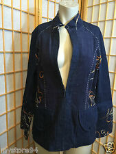 Piccadilly Fashions Blue Denim Corduroy Embroidered Zip Up Jacket Womens Size 10