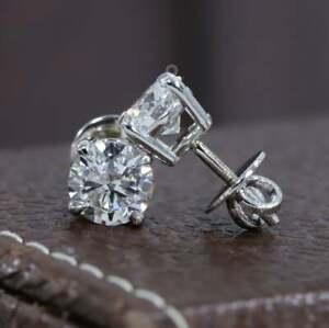 18K White Gold Over 4.00 TCW Stud Diamond Earrings Round Cut Earrings For Unisex
