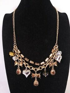 Betsey Johnson Rhinestone hearts and bows necklace NEW