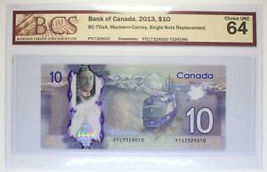 Canada - 2013 - $ 10 - BC-70aA (P-107a)  - Macklem-Carney - Single Replacement