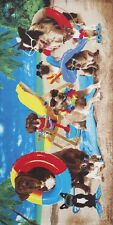 "Dogs At The Beach Towel - 30"" x 60"" - Velour - Made In Brazil"
