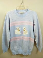 Jennifer Adams Womens Blue Pink Silver Sweater with White Cats Applique USA