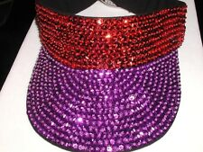 RED AND PURPLE SEQUIN VISOR HAT SOCIETY GOLF GARDEN TENNIS SPORTS TEAM COLORS