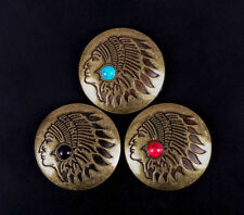 3X Brass Turquoise Leather craft Decor Indian Head Southeast Concho Screwback