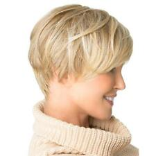 Fashion Short Cut Blond Straight Layered Synthetic Wig Full Hair For Women