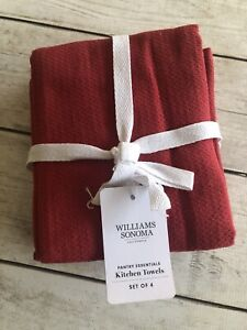 WILLIAMS SONOMA PANTRY ESSENTIALS KITCHEN TOWELS SET/3 IN RED NWT