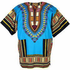 Cotton African Dashiki Traditional Shirt Unisex Boho Fits Most Blue ad02s