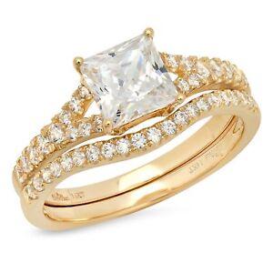 2.21ct Princess Cut Halo Bridal Engagement Wedding Ring Band Set Yellow Gold