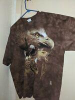 VTG Liquid Blue Bald Eagle Soaring T-Shirt Tee Size XL Unique Brown Tie Dye