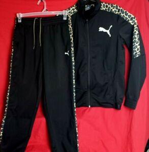 Puma Men M Cheetah Side Stripe Regular Fit Black Track Pants Jacket Set 838607-8