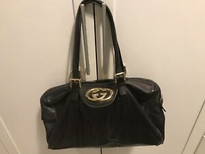 Gucci authentic pre owned black leather boston bag vintage