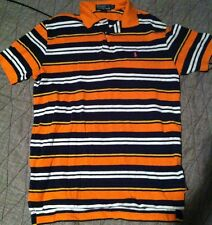 Vtg 90S Polo Ralph Lauren Striped Shirt M Colorblock Orange White Sport Rugby