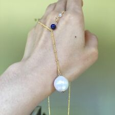 Natural White 13.5mm Kasumi Baroque pearl pendant w/necklace AAA+ Lapis Lazuli