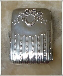 Antique Victorian French Sterling Silver cigarette/ Card Case Louis XVI Pattern