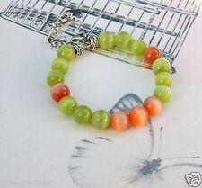 Bright Cat Eye in Orange andLime Green Memory Wire Bracelet, New Handmade