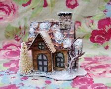 Tiny Lighted Woodland Log Cabin Cottage House Christmas Putz Ornament #2