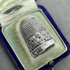More details for antique vintage sterling silver edwardian thimble chester 1902 fitted case