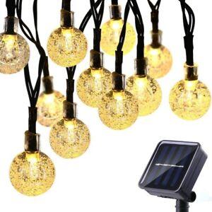 Solar Powered 30LED String Ball Bulb Rope Fairy Lights Outdoor Garden Patio Yard