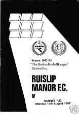 RUISLIP MANOR V BARNET ANDY SKYERS TESTIMONIAL  10/8/92