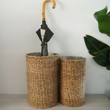 Seagrass Umbrella Stand with Tin Insert Small or Large Hamptons Home Decor