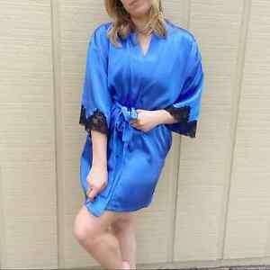 Frederick's of Hollywood blue satin lace lingerie robe Sz S