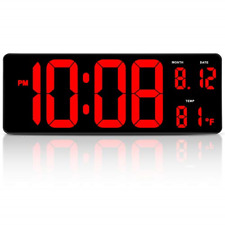"14.5"" Large Digital Wall Clock Date Indoor Temperature Display Desk Office Table"