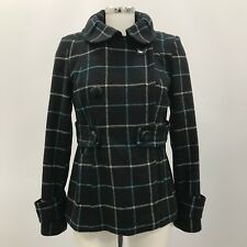 TOPSHOP Dark Blue Check Wool Double Breasted Wool Short Jacket Size UK 10 36385